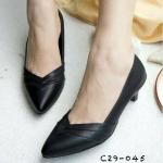 รองเท้าคัทชู ส้นเตี้ย ทรงหัวแหลมมน ดีไซน์โมเดิร์นเรียบหรูมีสไตล์สวมใส่ได้ ทุกโอกาส สีดำ ขาว แทน ครีม สูง 1 นิ้ว (C29-045)