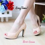 รองเท้าคัทชู ส้นสูง เปิดนิ้ว หนังเงาสวยเรียบหรู ทรงสวย หนังนิ่ม ส้นสูงประมาณ 4 นิ้ว ใส่สบาย แมทสวยได้ทุกชุด (L249)