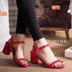รองเท้าแฟชั่น ส้นสูง แบบสวม รัดข้อ สายแต่งหมุดสวยเก๋ สไตล์วาเลนติโน ทรงสวย คลาสสิค ส้นตัดสูงประมาณ 2.5 นิ้ว เดินง่าย แมทเก๋ได้ทุกชุด