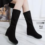รองเท้าบูทยาว ส้นเตารีด สไตล์เกาหลีสวยเก๋ ดูแพง ด้านในบุผ้าสักหราด ยาว 31 cm รอบข้อ 24 cm ยืดได้ (อย่าลืมบวกเผื่อถุงเท้า) งานสวย สูง 3 นิ้ว ใส่สบาย แมทสวยได้ทุกชุด (6601)