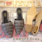 รองเท้าคัทชู เปิดส้น สวยเก๋ แต่งอะไหล่คลิสตัลด้านหน้าสวยหรู ทรงสวยเก็บเท้า ส้นแต่ง ขอบทองหรูดูดี ใส่สบาย แมทสวยได้ทุกชุด (CA8574)