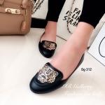 รองเท้าคัทชูส้นแบน หนังนิ่ม ตอกอะไหล่ทองลายเสือด้านหน้า Style Kenzo ส้นกันลื่นหนา 1 ซม. แบบสวยไฮโซ โดดเด่น สีดำ ตาล