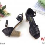 รองเท้าแฟชั่น ส้นสูง รัดส้น หน้าคาดเฉียบเรียบหรู ส้นลายไม้สวยเก๋ สูงประมาณ 3 นิ้ว ใส่สบาย แมทสวยเท่ห์ได้ทุกชุด (KP996)