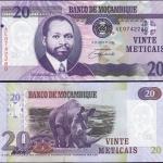 ประเทศ โมซัมบิก ชนิดราคา 20 METICAIS (เมติเค) รุ่นปี พ.ศ.2549 (ค.ศ.2006)
