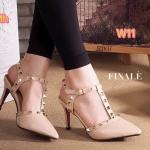 รองเท้าคัทชู ส้นสูง รัดข้อ ทรงหัวแหลมแต่งหมุดสไตล์วาเลนติโนสวยเก๋ ส้นสูงประมาณ 3 นิ้ว ใส่สบาย แมทสวยได้ทุกชุด