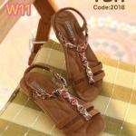 รองเท้าแตะแฟชั่น แบบสวม รัดส้น แต่งอะไหล่คลิสตัลสวยหรูน่ารัก รัดส้นยางยืดนิ่ม กระชับเท้า พื้นนิ่ม ใส่ง่าย ใส่สบาย แมทสวยได้ทุกชุด (2018)