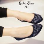 รองเท้าคัทชู ส้นแบน สวยหรู ผ้ากำมะหยี่ หัวแหลม ประดับตกแต่งคริสตัล ิใช้ความร้อนอัดติดกับผ้าติดแน่นสวยทน ทรงสวย แมทได้ทุกชุด สีดำ ครีม น้ำเงิน แดง (7641)