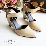 รองเท้าคัทชู ส้นเตารีด รัดส้น เรียบเก๋ดูดี ทรงสวย สายรัดเมจิกเทปใส่ง่าย ส้นสูง ประมาณ 3 นิ้ว ใส่สบาย แมทสวยได้ทุกชุด (G5134)