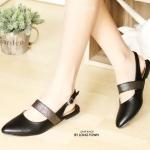 รองเท้าคัทชู ส้นแบน สวยเก๋ รัดส้น คาดยางยืดด้านหน้าเพิ่มความเก๋และกระชับเท้า หนัง นิ่มอย่างดี ทรงสวย ใส่สบาย แมทสวยได้ทุกชุด (LD669)