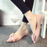 รองเท้าคัทชู ส้นแบน สวยน่ารัก หนังสักหราด หัวแหลม ประดับโบว์ใหญ่ ด้านหน้า น่ารักมาก ใส่แล้วเท้าเรียว เก็บหน้าเท้าดูดี แมทได้ทุกชุด สูง 1 cm. สีดำ ชมพู แดง (OAD-0006)