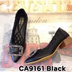 รองเท้าคัทชู ส้นเตี้ย แต่งอะไหล่สวยหรู ส้นเงาแต่งลายไม้สวยดูดี หนังนิ่มใส่สบาย ส้นสูงประมาณ 1.5 นิ้ว ทรงสวย แมทสวยได้ทุกชุด (CA9161)