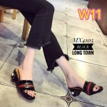 รองเท้าแฟชั่น แบบสวม สไตล์กุชชี่แต่งคาดด้านหน้า ส้นแต่งมุกสวยหรู เก๋มาก ใส่สบาย ส้นตันสูงประมาณ 2 นิ้ว แมทสวยได้ทุกชุด (MX4105)