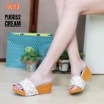 รองเท้าแฟชั่น ส้นเตารีด แบบสวม แต่งลายตารางดาเมียร์สไตล์ LV ทรงสวย ใส่สบาย แมทสวยได้ทุกชุด (PU6052)