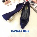 รองเท้าคัทชู ส้นเตี้ย แต่งอะไหล่สวยหรู ส้นเคลือบเงา หนังนิ่ม ทรงสวย ส้นสูงประมาณ 1 นิ้ว ใส่สบาย แมทสวยได้ทุกชุด (CA9447)