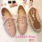 รองเท้าคัทชู ส้นแบน แต่งฉลุลายดอกไม้ สีไล่โทนสวยน่ารัก ทรงสวย หนังนิ่ม ใส่สบาย แมทสวยได้ทุกชุด (CA9677)