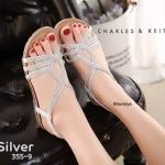 รองเท้าแตะแฟชั่น รัดส้น สวยหรู ดีไซน์สวมแต่งเพชรหรูมีสไตล์ รัดส้นยางยืดนิ่มกระชับ เท้า พื้นนิ่ม ใส่สบาย แมทสวยได้ทุกชุด (355-9)