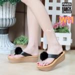 รองเท้าแฟชั่น แบบหนีบ ส้นเตารีด แต่งเฟอร์กลมฟูนิ่มน่ารัก ใส่สบาย แมทสวยได้ทุกชุด (PU6026)