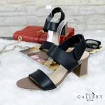รองเท้าแฟชั่น ส้นสูง แบบสวม รัดส้น หนังนิ่ม แบบเรียบเก๋ สายรัดเมจิกเทป ใส่สบาย ส้น ตัด สูงประมาณ 2. นิ้ว แมทสวยได้ทุกชุด (G12-48)
