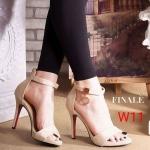 รองเท้าแฟชั่น ส้นสูง รัดข้อ หนังสักหราด แต่งอะไหล่ทองที่สายรัดข้อสวยเรียบหรู ทรงสวย หนังนิ่ม ส้นสูงประมาณ 4 นิ้ว ใส่สบาย แมทสวยได้ทุกชุด