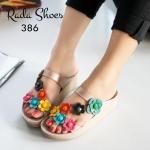 รองเท้าแตะเพื่อสุขภาพ Fitness Slide Sandals Style พื้นคอมฟอต ขับผิวเท้า ให้คุณโดดเด่นด้วยหนัง PU สี Two - Tone แต่งดอกไม้พร้อมเกสรดอกคริสตัล สีสดใส ตอบโจทย์สวยสุขภาพดี ใส่สบายได้ทุกวัน (386)