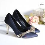 รองเท้าคัทชู ส้นสูง ดีไซน์คาดด้านหน้าสวยหรู สูง 3 นิ้ว ให้คุณดูดีไม่ ว่าจะใส่กับชุดไหน สีครีม ดำ น้ำเงิน เทา (G5169)