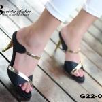 รองเท้าส้นเข็ม แบบเปิดส้น งานผ้าซาตินเงาแต่งคาดแถบเมทัลลิคทอง สวยหรู ใส่แล้วเท้าดูโดดเด่น ส้นโลหะทอง สูง 3 นิ้ว ทรงสวยเป๊ะ ขับผิวเท้า ใส่กับชุด ไหนก็ดูดีมีสไตล์ 4 สี ดำ แดง ทอง น้ำเงิน
