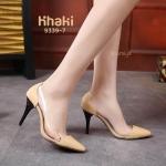 รองเท้าคัทชู ส้นสูง แต่งพลาสติกใสนิ่มด้านข้างสวยเก๋ ทรงสวยเพรียว สูงประมาณ 4 นิ้ว ใส่สบาย แมทสวยได้ทุกชุด (9339-7)