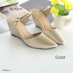 รองเท้าคัชชู ส้นสูงแบบสวม แต่งแถบทองเรียบหรู เก็บหน้าเท้าเรียว ส้นสูง 2.5 นิ้ว น้ำหนักเบา ใส่สบายแมทได้สวยทุกชุด