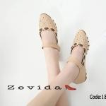 รองเท้าคัทชู ส้นแบน แต่งหนังปักและขอบสีสวยเก๋ คาดหน้าติดเมจิกเทปเพิ่มความกระชับ หนังนิ่ม ใส่สบาย แมทสวยได้ทุกชุด (18-1350)