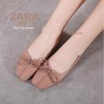 รองเท้าคัทชู ส้นแบน แต่งตะเข็บและโบว์หน้าสวยน่ารัก งานหนังนิ่ม สวมใส่สบาย ทรงสวย ใส่สบาย แมทสวยได้ทุกชุด (829-19)