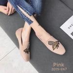 รองเท้าคัทชู ส้นแบน หนังสักหราดแต่งลายผึ้งปักสวยเรียบหรูสไตล์แบรนด์ หนังนิ่ม ทรงสวย ใส่สบาย แมทสวยได้ทุกชุด (2015-247)