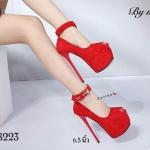 รองเท้าคัทชู ส้นสูง รัดข้อ เปิดนิ้ว สายรัดข้อแต่งเข็มขัดสวยเก๋ ทรงสวย ส้นสูงประมาณ 6.5 นิ้ว เสริมหน้า 2 นิ้ว ใส่ออกงาน ปาร์ตี้ แมทสวยโดดเด่นได้ทุกชุด (17-8223)