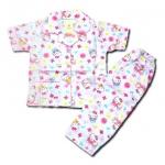 ชุดนอนใหม่ Hong Kong สีขาว-ชมพู ลาย Hello Kitty กับโบว์ 6T