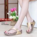 รองเท้าแตะแฟชั่น เพื่อสุขภาพ แบบหนีบ แต่งเข็มขัดข้างสวยเก๋ พื้นซอฟคอมฟอตนิ่มสไตล์ฟิตฟลอบ ใส่สบาย แมทสวยได้ทุกชุด (Pf2182)