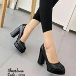 รองเท้าคัทชู ส้นสูง เรียบหรู หนังพียูเรียบเนียนสวย ทรงหัวมน ส้นตัน เดินง่าย สูง 4 นิ้ว เสริมหน้าหน้า 1 นิ้ว ใส่สบาย ได้ทุกโอกาส สีดำ แทน