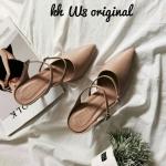 รองเท้าคัทชู ส้นสูง เปิดส้น แต่งสายคาดเข็มขัด 2 เส้น สวยเก๋ ทรงสวยเก็บเท้าเรียว ส้นสูงประมาณ 3 นิ้ว ใส่สบาย แมทสวยได้ทุกชุด