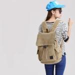 กระเป๋าเป้ Canvas vintage คุณภาพดี (สีน้ำตาลอ่อน)