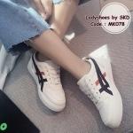 รองเท้าผ้าใบ งานน่ารัก สไตล์ onitsuka tiger แบบขายดีสุดฮิต สวมใส่ง่าย งานหนังนิ่มสวย บวกกับความนิ่มสบายของด้านในรองเท้า สวมใส่สบาย สไตล์ sport girls แมทกับชุดไหนก็เอาอยู่ สีดำ ชมพู (MK078)