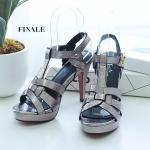 รองเท้าแฟชั่น ส้นสูง รัดส้น หนังเงาเมทัลลิค สานด้านหน้าสไตล์อีฟแซงสวยหรู อินเทรนด์ ทรงสวย หนังนิ่ม ใส่สบาย ส้นสูงประมาณ 5 นิ้ว เสริมหน้า แมทสวยได้ทุกชุด