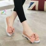 รองเท้าคัทชู ส้นเตี้ย ส้นสปอง งานนำเข้า สไตล์เกาหลีแต่งโบว์หน้าสุดน่ารัก ใส่สบายเท้า พื้นสูงเสริมส้น 1 นิ้ว น่ารัก ใส่สบาย สีดำ เทา ชมพู (1603)