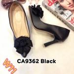 รองเท้าคัทชู ส้นสูง แต่งโบว์ดอกไม้สวยเก๋ ส้นเหลี่ยมเก๋ หนังนิ่ม พื้นนิ่ม ส้นสูงประมาณ 4 นิ้ว ใส่สบาย แมทสวยได้ทุกชุด (CA9362)
