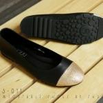 รองเท้าคัทชู ส้นแบน สไตล์บัลเล่ ต่อหัวด้วยผ้ากากเพชรละเอียดสีทองเกรดดี ตัวรองเท้าหนังสังเคราะห์คุณภาพดีหนานุ่ม ซับด้านในได้ผ้าสักหลาดนุ่ม สินค้าขายดี ใส่สวย สีดำ ครีม น้ำเงิน เทา (C43-011)