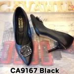 รองเท้าคัทชู ส้นสูง แต่งอะไหล่เพชรด้านหน้าสวยหรูสไตล์แบรนด์ ส้นแต่งขอบทอง หนังนิ่ม ทรงสวย ส้นสูงประมาณ 4 นิ้ว แมทสวยได้ทุกชุด (CA9167)