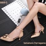 รองเท้าคัทชู ส้นเตี้ย รัดข้อ แต่งอะไหล่สวยหรูน่ารัก สไตล์แบรนด์ ส้นสูงประมาณ 2 นิ้ว ใส่สบาย แมทสวยได้ทุกชุด (B89-1)