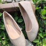 รองเท้าคัทชู ส้นเตี้ย หนังลายกลิสเตอร์เรียบเก๋ ส้นสูงประมาณ 1.5 นิ้ว ใส่สบาย แมทสวยได้ทุกชุด