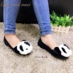 รองเท้าคัทชู ส้นแบน แต่งเฟอร์ฟูนิ่ม หน้าหมีแพนด้าน่ารัก ใส่สบาย แมทสวยได้ทุกชุด (17-666)