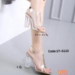 รองเท้าแฟชั่น แบบสวม ส้นสูง รัดส้น ดีไซน์คาดหน้าเท้าเต็ม พลาสติกใส่นิ่ม แต่งหนังเมทาลิคสวยเก๋ ส้นแก้ว สูงประมาณ 4 นิ้ว ใส่สบาย แมทสวยได้ทุกชุด (17-5115)
