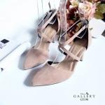 รองเท้าคัทชู ส้นสูง หนังสักหราดแต่งสายไขว้สวยหรู หนังนิ่ม ทรงสวย ส้นสูงประมาณ 3 นิ้ว ใส่สบาย แมทสวยได้ทุกชุด (G5190)