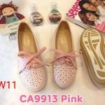 รองเท้าคัทชู ส้นแบน สไตล์ผ้าใบสวยเก๋น่ารัก แต่งฉลุลายและเชือกผูกหน้าสวยวินเทจ หนังนิ่ม ใส่สบาย แมทสวยได้ทุกชุด (CA9913)