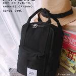 กระเป๋าเป้แฟชั่น Anello Lotte - mini canvas rucksack เรียบเก๋ มีช่องซิปหน้า ขนาด สูง 11 กว้าง 9 นิ้ว สีดำ กรม